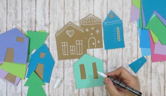 Creare con i bambini allontanando la noia. Le casette di carta.