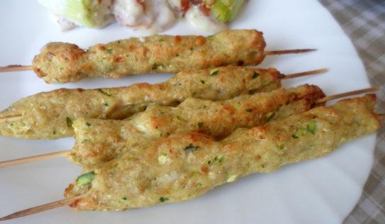 Arrosticini di pollo e zucchine.