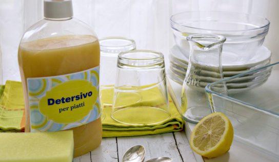 Detersivo per piatti e lavastoviglie, fatto in casa, con limone è sale.