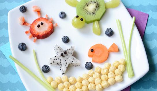 Disegnare con frutta e verdura.