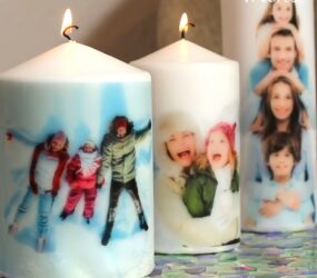Regali natalizi fai da te; candele personalizzate con foto ed immagini